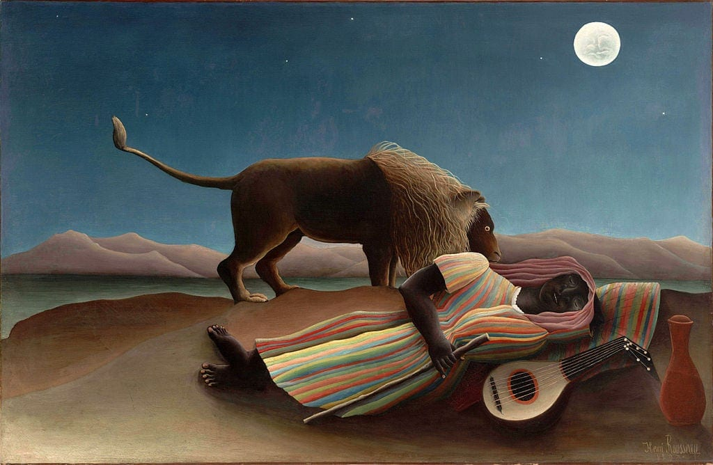 famous painting sleepy gypsy by henri rousseau